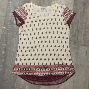 Lucky Brand Distressed Patterned Short Sleeve Top